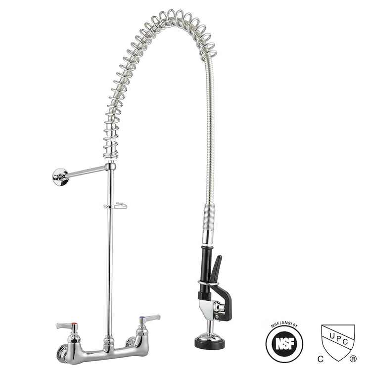 Aquaterior Double Handle Pull Down Sprayer Kitchen Faucet Commercial 360 Swive Spout Wall Mount Pre-Rinse CUPC NSF ANSI