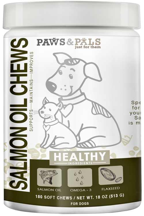 Paws & Pals Salmon Oil for Dogs Wild Alaskan Fish Oil Treat Supplements with Omega 3 and 6 (180 Count)