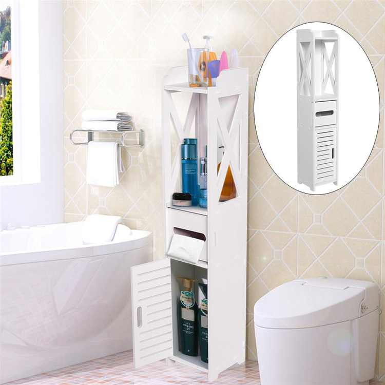 Bathroom Cabinet,Bathroom Storage Shelf,Fosa 80*15.5*15.5CM Bathroom Toilet Furniture Cabinet White Wood Cupboard Shelf Tissue Storage Rack