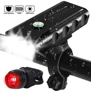 USB Rechargeable Bike Headlight & Taillight Set 3 LED Bike Light 1000 Lumen Super Bright Bicycle Light IPX5 Waterproof Powerful Safety Flashlight for Riding Hiking Camping Cycling Mountain Street Road