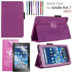 """Amazon Fire 7"""" 2017 Case, EpicGadget(TM) 7th Generation Fire 7 Premium PU Leather Folding Folio Case with Built in Stand For Fire 7 inch (2017 Release) + 1 Screen Protector and 1 Stylus (Purple)"""