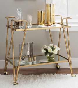 Linon Gold Mid-Century Bar Cart