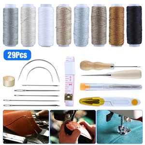 Leather Craft Repair Kit 29Pcs, Leather Craft Tool Kit Leather Hand Sewing Needles Canvas Thread and Needles Tape Measure Large-Eye Stitching Needles for Leather Repair