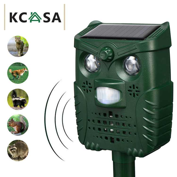 KCASA KC-JK555 4-Modes Ultrasonic Animal & Pest Repeller Solar Powered Motion Activated with Solar Power Flashlight and USB Charge, Effective for Cats,Dogs,Raccoons,Skunks,Squirrel