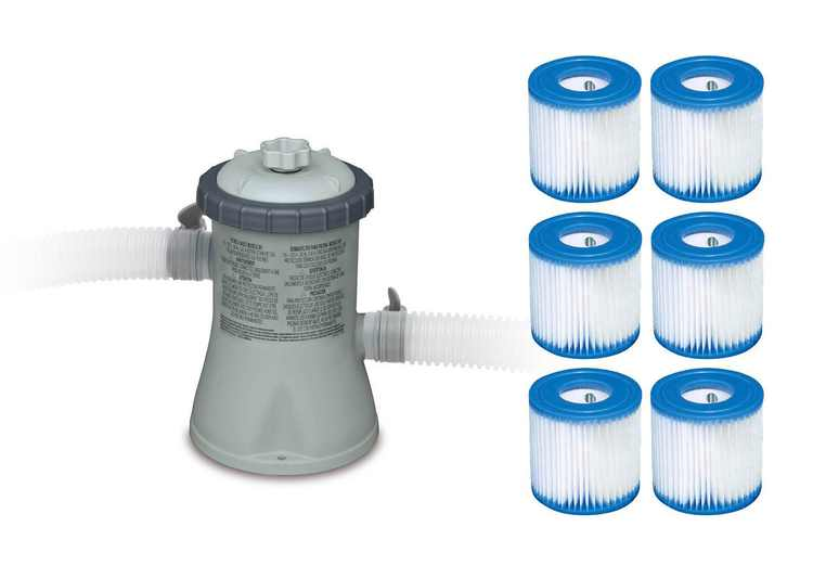 Intex 330 GPH Easy Set Swimming Pool Filter Pump with Six Replacement Cartridges