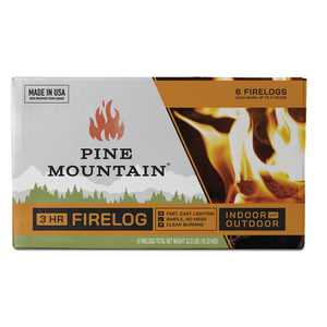 """Pine Mountain Traditional 3-Hour Firelogs, Easy Starter Logs, 10.5"""" x 3"""", 6 Pack Long Burning Firelog for Fireplace, Campfire, Fire Pit, Indoor & Outdoor Use"""