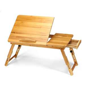 Kadell Adjustable Wood Bed Tray Lap Desk Serving Table Folding Legs Bamboo Food Dinner with Drawer (21 x 13 x 12 inches)
