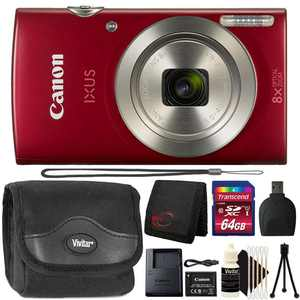 Canon Powershot Ixus 185 / ELPH 180 20MP Compact Digital Camera Red with 64GB Accessory Kit