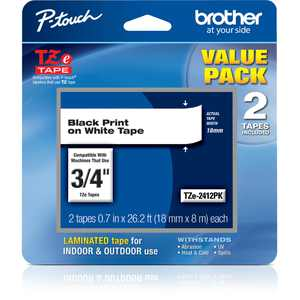 """Brother TZE241 Laminated Tape for P-Touch Labelers (Black on White, 0.7"""" x 26.2', 2-Pack)"""