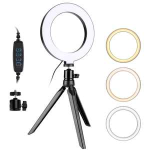 """6"""" LED Ring Light with Tripod Stand for Live Streaming & YouTube Video, Dimmable Desk Makeup Ring Light for Photography, Shooting with 3 Light Modes & 10 Brightness Level"""