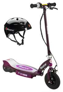 Razor E100 Electric Motor Powered Girls Scooter (Purple) & Youth Sport Helmet