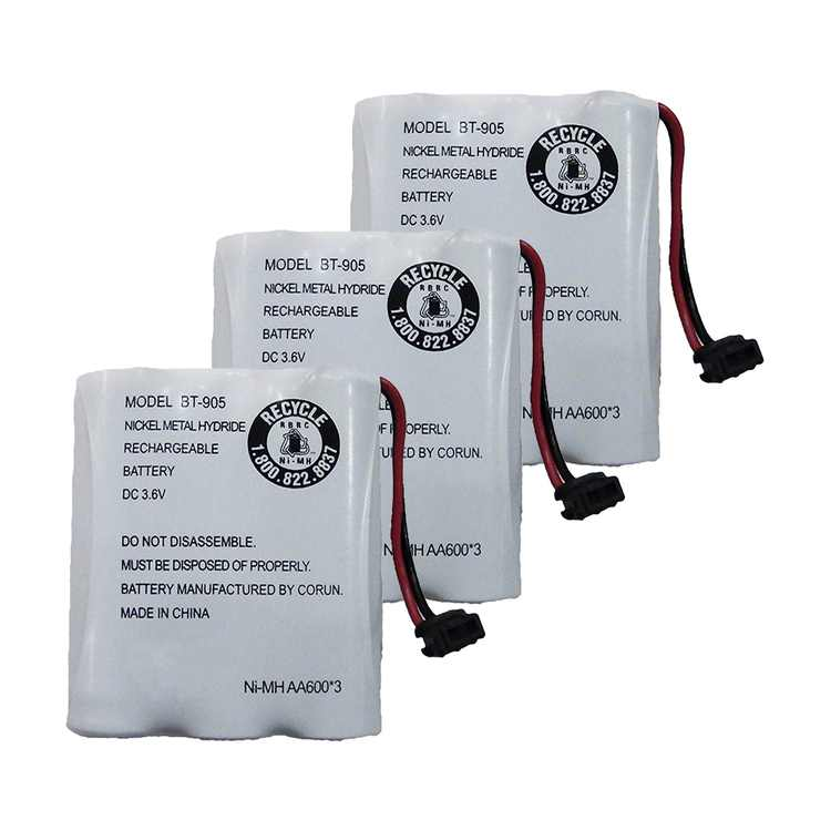 Replacement For Uniden BT-905 Cordless Phone Battery (600mAh, 3.6V, NiCD) - 3 Pack