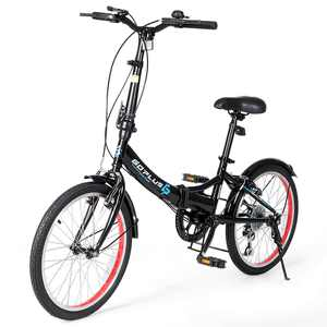 Goplus 20'' Lightweight Adult Folding Bicycle Bike w/ 7-Speed Drivetrain Dual V-Brakes