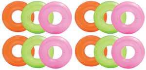 Intex Colorful Transparent Inflatable Swimming Pool Tube Raft (12-Pack)| 59260EP