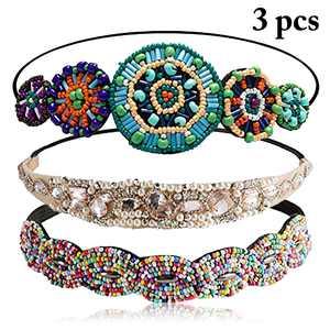 3PCS Hair Bands, Justdolife Fashion Rhinestones Beaded Elastic Headbands Hair Styling Accessories for Girls Teen Women