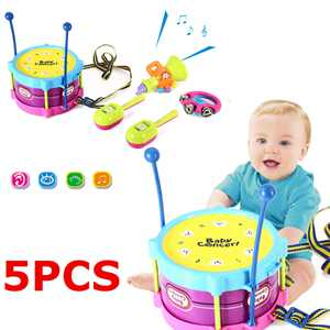 5Pcs Baby Concert Toys Baby Roll Drum Musical Instruments Band Kit Novelty Children Toy Baby Kids Toddler Gift Set
