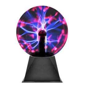 """Decorative Bright Multi Color Globe Plasma Lamp, Black, 6"""""""