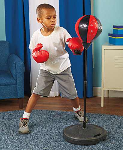 70cm-105cm Children Kids Boxing Stand Speed Punching Ball Freestanding Punching Bag with Stand Gloves and Pump,Adjustable Height Fitness Punching Bag