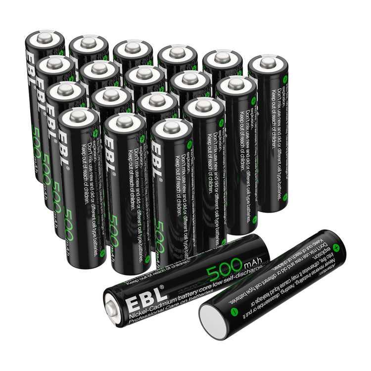EBL 20-Pack 1.2V 500mAh AAA Battery Ni-CD Rechargeable Batteries for Garden Solar Light