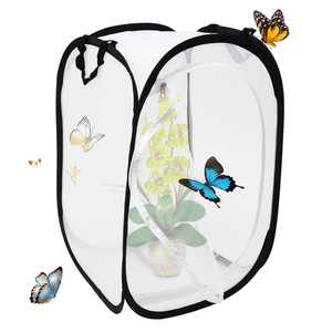 Portable Collapsible HabitatCage Flying Insect Dragonfly Butterfly Mesh Cage Butterfly House Terrarium Foldable Protector Net 16 x 16 x 24 Inches