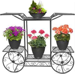 Ktaxon 6-Tier Garden Cart Stand & Flower Pot Plant Holder Display Rack, Black