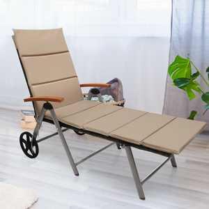Gymax Folding Back Adjustable Aluminum Rattan Lounger Recliner Chair