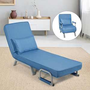 Costway Folding 5 Position Convertible Sleeper Bed Armchair Lounge Couch w/ Pillow Blue