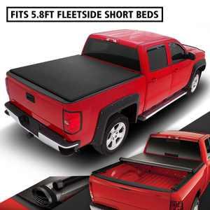 DNA Motoring TTC-RU-018 For 2009 to 2021 Ram 5.7Ft Fleetside Short Bed Roll -Up Soft Vinyl Tonneau Cover 10 11 12 13 14 15 16 17 18