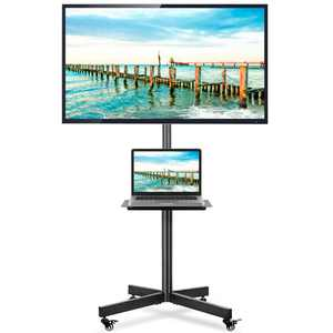 """Rolling TV Stand with Wheels for TVs up to 60""""-Mobile TV Cart Adjustable Metal Shelf"""