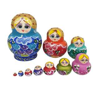 10Pcs Nesting Dolls Colorful Russian Stacking Dolls Collection Toy