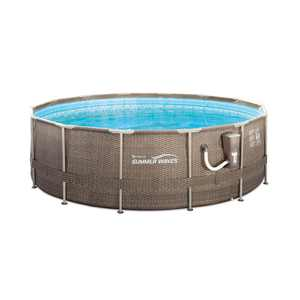 """Summer Waves 14' x 48"""" Round Frame Above Ground Swimming Pool with Ladder & Pump"""