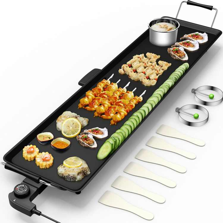 Electric Teppanyaki Table Top Grill Griddle BBQ Barbecue Nonstick Camping