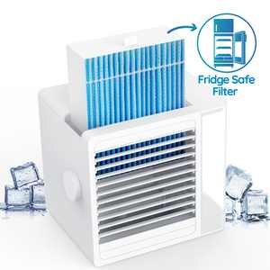 Brizer Glacier Mini AC Portable Air Conditioner for Small Room- Indoor Personal Air Cooler Portable, Water Cooling AC, Portable AC- Evaporative Cooler for Desk or Bedside