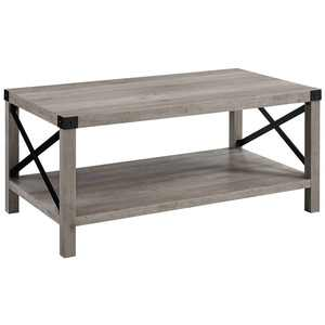 """40"""" Wood and Metal X Coffee Table in Gray Wash"""