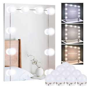 EEEkit Vanity Lights for Mirror, 10-Bulb DIY Hollywood Lighted Makeup Vanity Mirror with Dimmable Lights, Stick on LED Mirror Light Kit for Vanity Set, Plug in Makeup Light for Bathroom Wall Mirror
