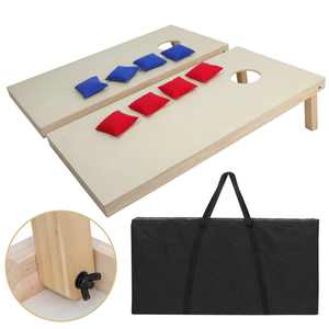 Portable Solid Wood Cornhole Bean Bag Toss Game Set Regulation Size 4ft x 2ft Cornhole Boards & 8 Bags Playset Backyard Lawn Corn Hole Outdoor Game Set