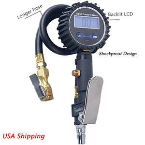Digital Tire 300 PSI Inflator with Pressure Gauge Air Chuck for Truck/Car/Bike