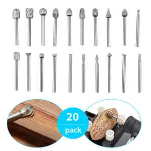 """TSV 20pcs HSS Routing Router Bits Burr Rotary Tools Wood Milling Burs With 1/8"""" (3mm) Shank Suit For Dremel & Rotary Tool-DIY Engraving, Wood Working Tools"""