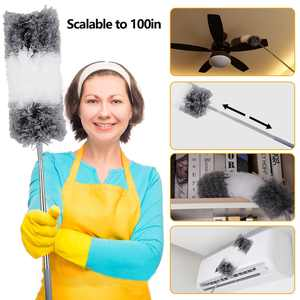 EEEkit Microfiber Duster with Extension Pole, Extra Long 100 inches, with Bendable Head, Extendable Duster for Cleaning Ceiling Fan, High Ceiling, Keyboard, Furniture & Cobweb