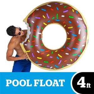 BigMouth Inc. Original Giant Donut Pool Float, Chocolate Frosting with Sprinkles, 4 Foot Inflatable Donut
