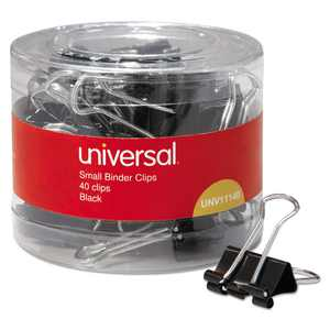 "UNIVERSAL Small Binder Clips 3/8"" Capacity 3/4"" Wide Black 40/Pack 11140"