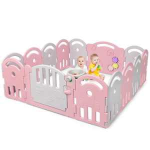 Costway 14-Panel Baby Playpen Kids Activity Center Playard w/Music Box
