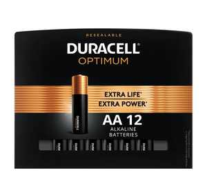 Duracell Optimum AA Battery, Double A Batteries with Resealable Package, 12 Pack