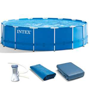 """Intex 15' x 48"""" Metal Frame Above Ground Swimming Pool with Filter Pump"""