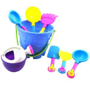 snorda Children's Beach Sand Toy Set, Beach Bucket, Watering Can, Shovel, Rake, Mold,