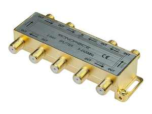 Monoprice 8-Way Coaxial Splitter, Gold Plated For Satellite/Cable TV Antenna