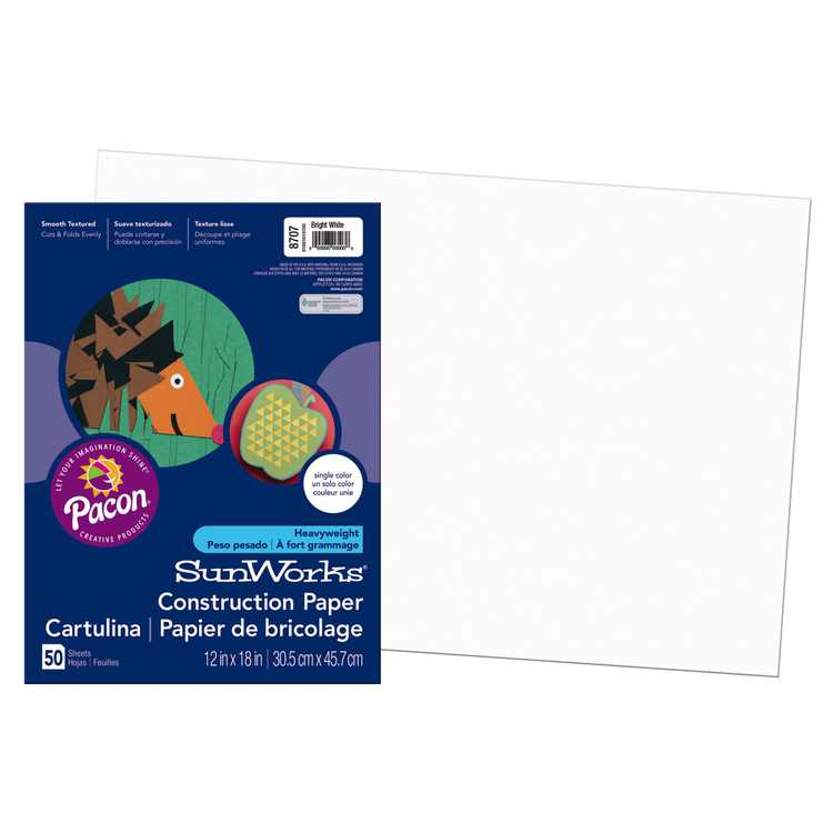 "Pacon SunWorks Construction Paper, 12"" x 18"", Bright White"