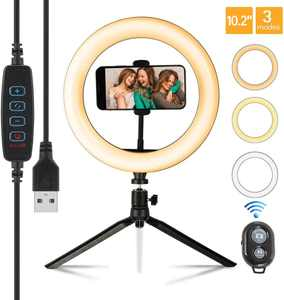10.2 LED Ring Light with Tripod Stand & Phone Holder Remote Control & 3 Light Modes & 10 Brightness Level, Dimmable Desk Selfie Ringlight for Live Streaming, Youtube Video, Shooting Makeup Ring Light