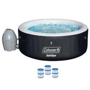 "Coleman SaluSpa 71 x 26"" Inflatable Spa 4-Person Hot Tub w/ 3 Filter Cartridges"