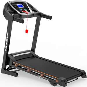 """3.25HP Portable Folding Electric Treadmill, Famistar 15-Level Auto Incline Electric Running Training Fitness Treadmill w/ 12 Programs, Built-in MP3 Speaker, 5"""" LCD Display, Free Knee Strap Gift, 9028S"""